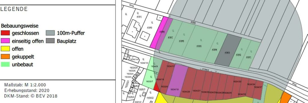 Grafik zur Ermittlung der im 100m Umkreis bestehenden Gebäudestruktur